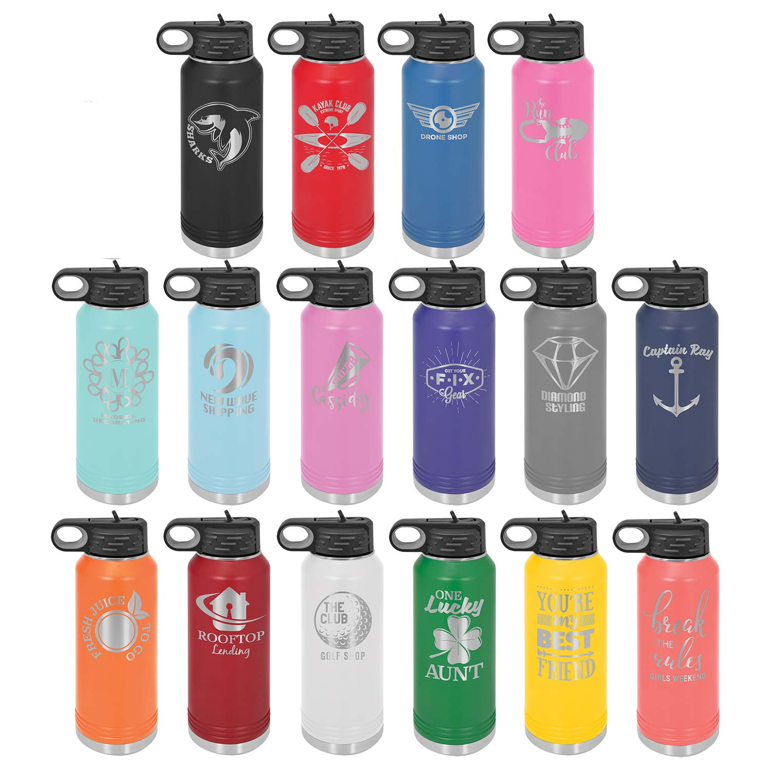 Personalized Laser Engraved Water Bottle 32 OZ