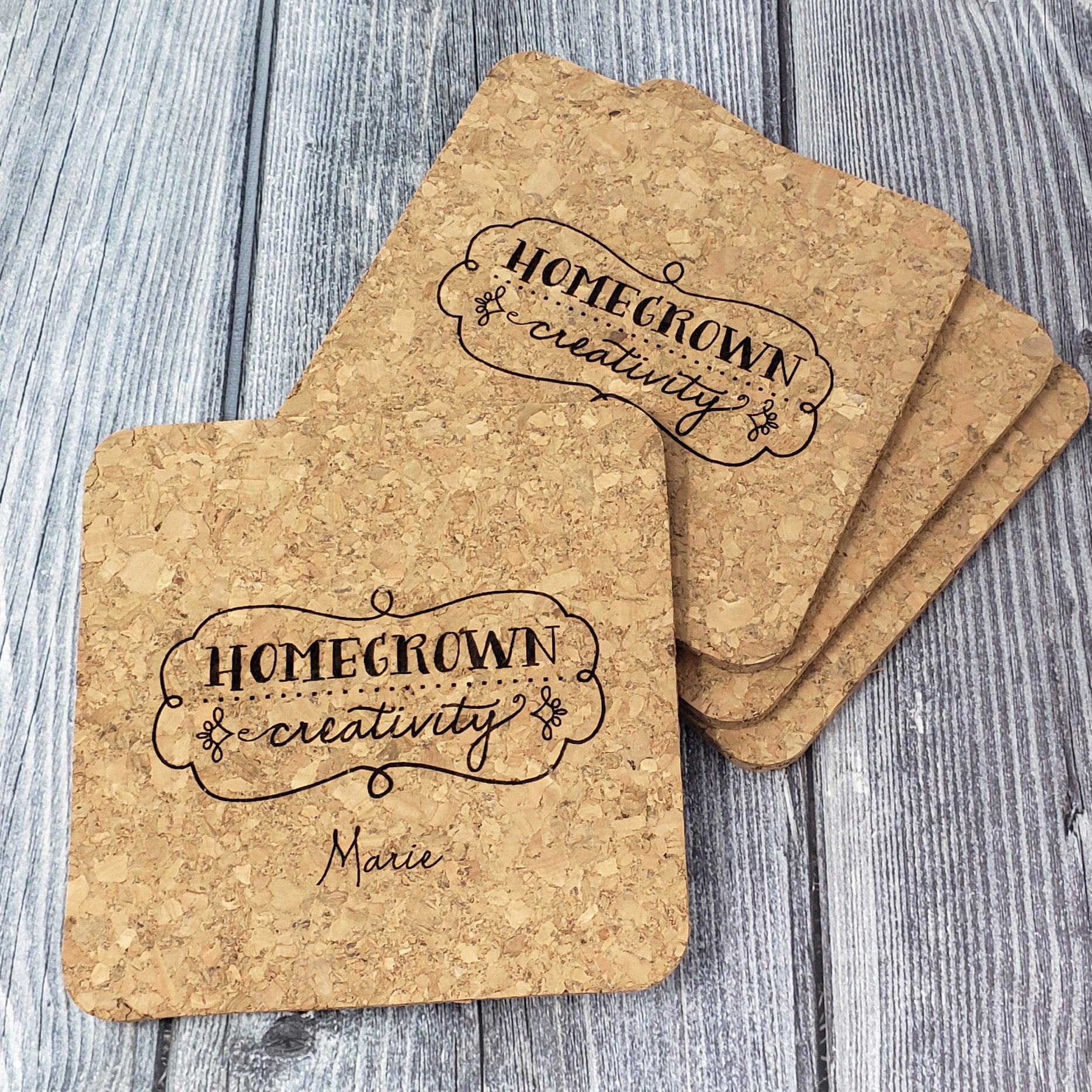 Personalized Cork Coasters | Set Square | Housewarming Gift Wedding Party Gift New Home Teacher