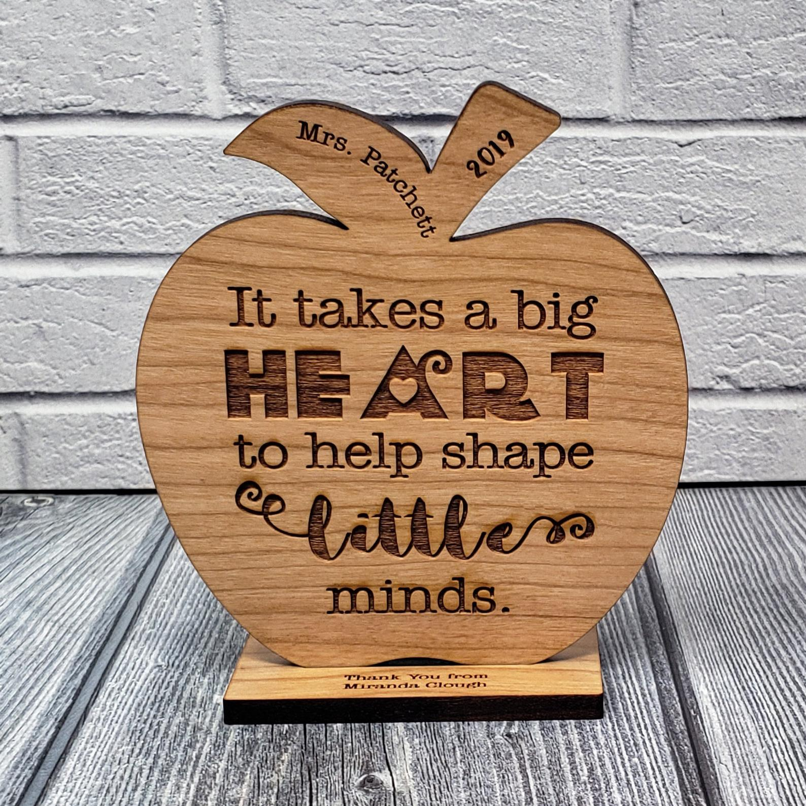 Custom Teacher Appreciation Gift Wood Engraved Apple Desk Display Award | Thank You | Big Heart to h