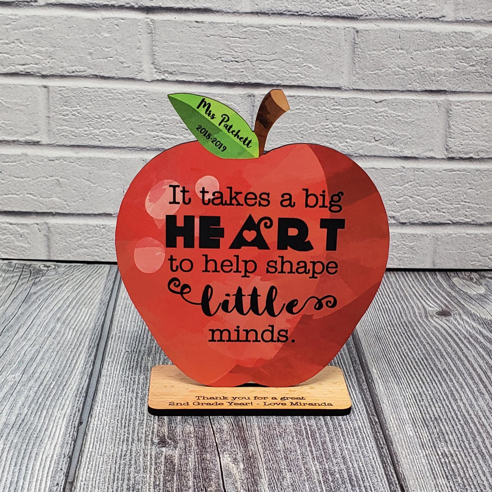 Custom Teacher Appreciation Gift Wood Apple Desk Display Award | Thank You | Big Heart to help Shape