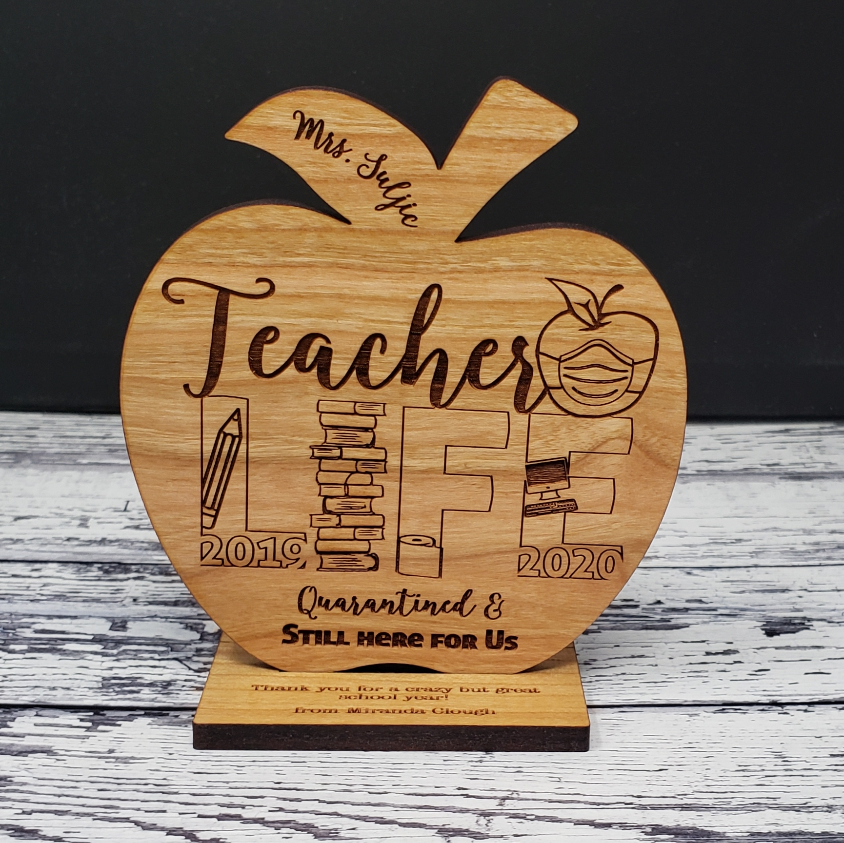 Custom Teacher Appreciation Gift Wood Engraved Apple Desk Display Award | Thank You | Teacher Life